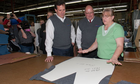 Rick Santorum at the Bemidji Woolen Mill,