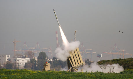 A rocket is launched from the Israeli anti-missile system known as Iron Dome