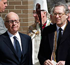 Rupert Murdoch and Sunday Times editor John Witherow at Marie Colvin's funeral on Long Island