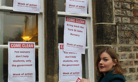 Students at York St John decorate the vice-chancellor's office with posters