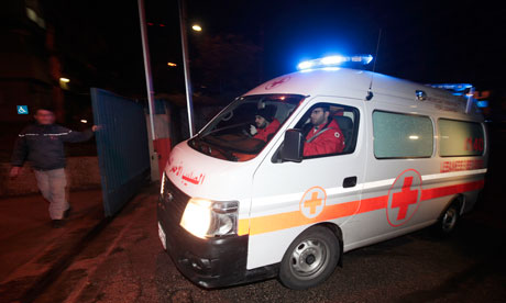 Lebanese red cross ambulance with Edith Bouvier
