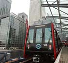 A Docklands Light Railway (DLR) train in Canary Wharf.