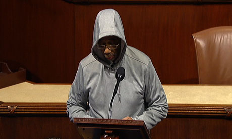 Bobby Rush wears a hoodie in the House of Representatives