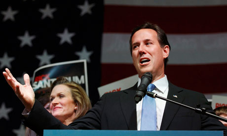Former senator Rick Santorum speaks at his Super Tuesday rally in Ohio