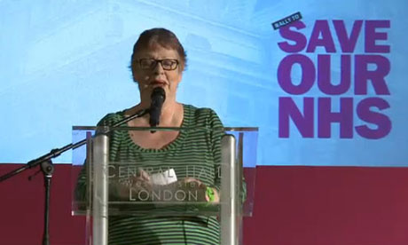 Jo Brand at the Save our NHS rally on 7 March 2012