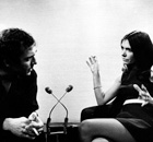 A young Joan Bakewell interviewing Harold Pinter