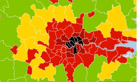 London population heat map