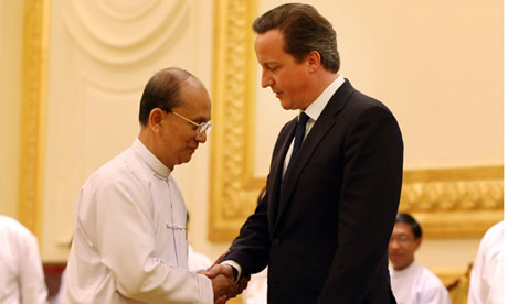 David Cameron meets Thein Sein, the president of Burma.