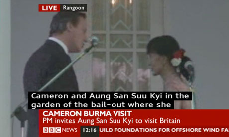 David Cameron and Aung San Suu Kyi in Rangoon on 13 April 2012.