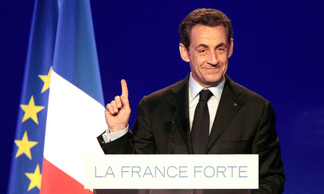 French president Nicolas Sarkozy presidential election campaign meeting, Arras, France - 18 Apr 2012
