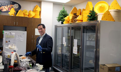 Rick Santorum makes a sandwich