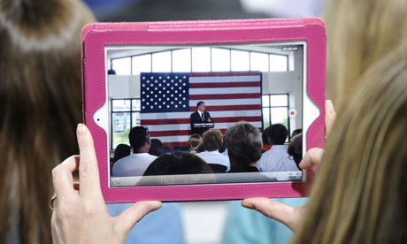 Mitt Romney seen on an iPad