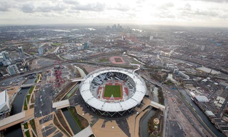 An aerial view of the London Olympic park.