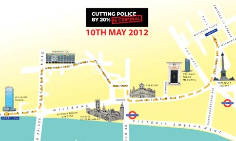 The route of the police protest march through London on 10 May 2012.
