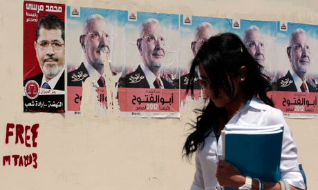 Egypt election campaign posters: Mohamed Mursi and Abdel Moneim Abu El Fotouh