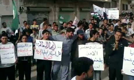 YouTube allagedly shows an anti-government demonstration in the Syrian town of Kafrruma
