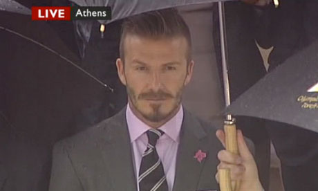 David Beckham at the handover of the Olympic flame on 17 May 2012.
