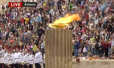 The Olympic flame in Athens on 17 May 2012.