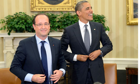 Francois Hollande and Barack Obama at the White House.