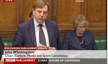 John Whittingdale speaking in the Commons debate.