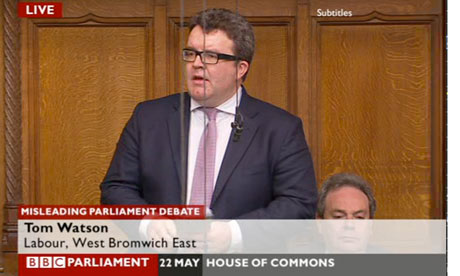 Tom Watson speaking in the phone hacking debate.