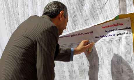 A man at a polling station in Alexandria.