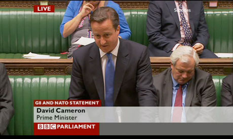 David Cameron giving a statement on the G8 and Nato summits.