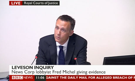 Fred Michel giving evidence to the Leveson inquiry.