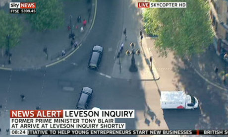 Tony Blair being driven to give evidence to the Leveson inquiry.