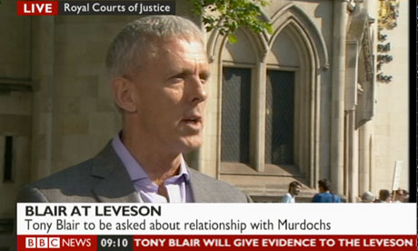 Lance Price speaking outside the Leveson inquiry