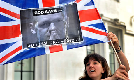 A Julian Assange supporter outside the supreme court in London on 30 May 2012.