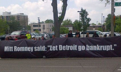 Protesters at Mitt Romney event in Michigan