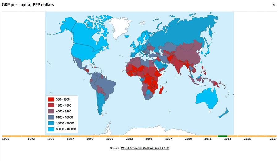 Gdp Per Capita Map 2013 Interactive map of GDP per