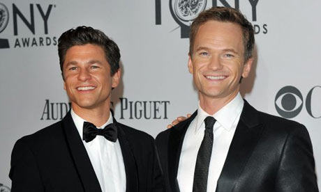 Neil Patrick Harris and his partner arrive for the Tony awards