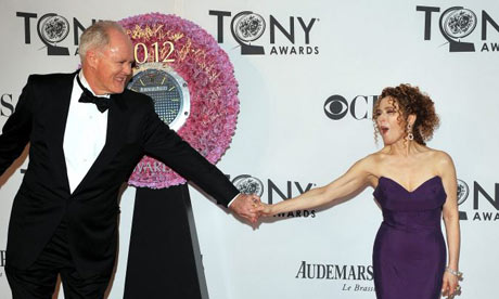Actors John Lithgow  and Bernadette Peters arrive at the Tony awards