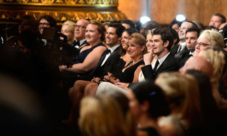 James Marsden, Emma Stone and Andrew Garfield attend the 66th Annual Tony Awards