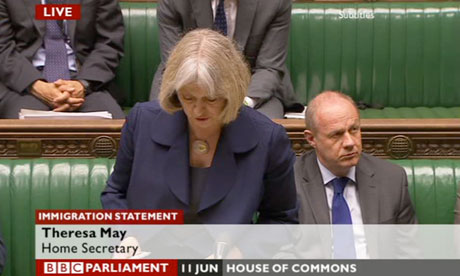 Theresa May making a statement on family migration.