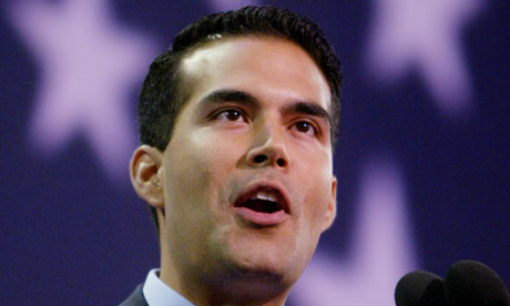 George P Bush speaks at the Republican National Convention in 2004
