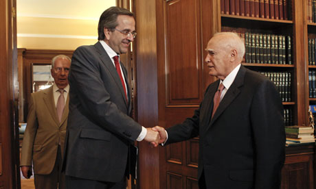 Antonis Samaras of New Democracy meets the Greek president, Karolos Papoulias, on 18 June 2012.