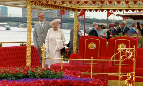 The Queen boards to Royal Barge