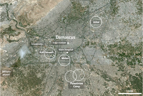 Damascus fighting map