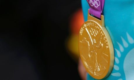The gold medal of Kazakhstan's Alexandr Vinokurov