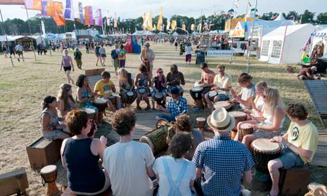 A drumming class at WOMAD