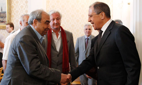 Russia's foreign minister Lavrov meets Syrian opposition activist Michel Kilo in Moscow