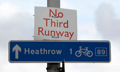 A sign near Heathrow airport protests against the proposal for a third runway