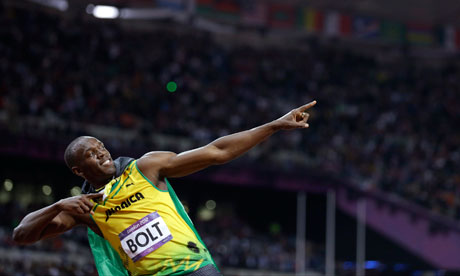 Usain Bolt after winning the 100m in London