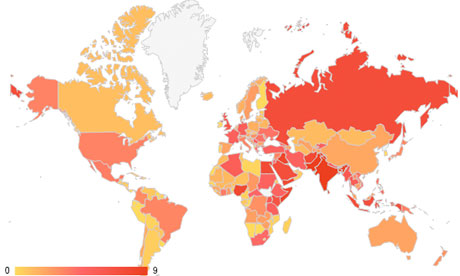 Social hostilities index mapped