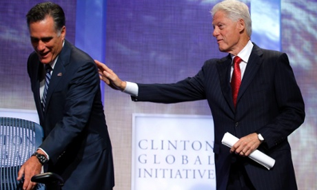 A helping hand? Former U.S. President Bill Clinton thanks Republican presidential candidate and former Massachusetts Governor, Mitt Romney, after he spoke at the Clinton Global Initiative (CGI) in New York