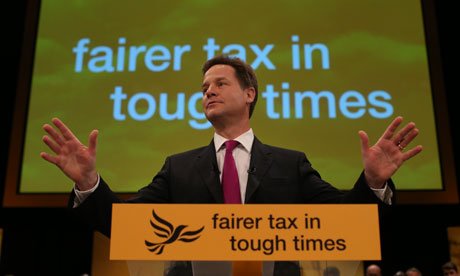 Nick Clegg delivers his keynote speech at the Liberal Party Conference in Brighton