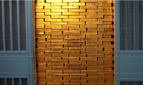 Gold ingots at the Federal Reserve Bank of New York